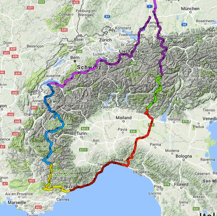 Unsere geplante Alpen Tour